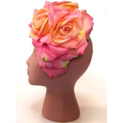 アーティフィシャルフラワー(造花)のバラのオーバルプラトー(ピンク)画像_airaka