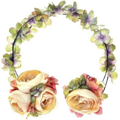 アーティフィシャルフラワー(造花)のアジサイのヘッドガーランド(アイボリーグリーン)画像_airaka
