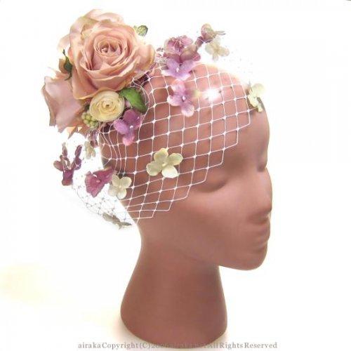 アーティフィシャルフラワー(造花)のローズと小花のチュールプラトー(ピンク)画像_airaka