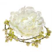 アーティフィシャルフラワー(造花)のピオニーとベリーのラリエット(ホワイト)画像_airaka