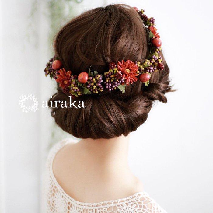 アーティフィシャルフラワー(造花)の髪飾り/ラズベリーの花冠画像_airaka