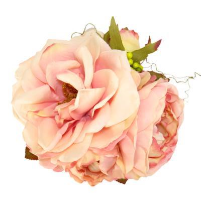 アーティフィシャルフラワー(造花)のオープンローズの髪飾り(ピンク)画像_airaka