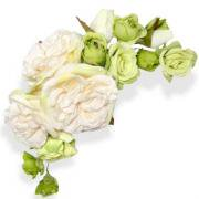 アーティフィシャルフラワー(造花)のフリルローズの髪飾り(ライトグリーン)画像_airaka