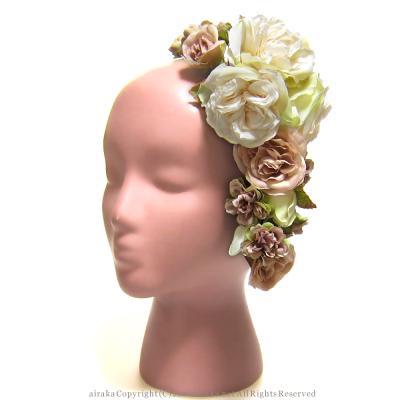 アーティフィシャルフラワー(造花)のフリルローズの髪飾り(ライトモーヴ)画像_airaka