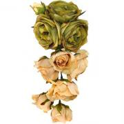 アーティフィシャルフラワー(造花)のアンファーヌローズの髪飾り(グリーンエクリュ)画像_airaka