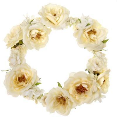 アーティフィシャルフラワー(造花)のリデルローズの花冠(ホワイト)画像_airaka