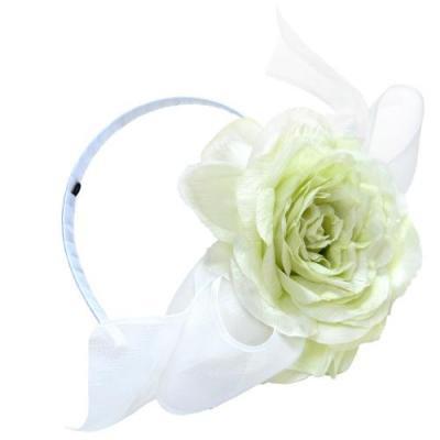 アーティフィシャルフラワー(造花)のブリティッシュローズのリボンカチューシャ(ホワイトグリーン)画像_airaka