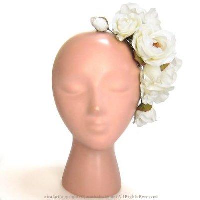 アーティフィシャルフラワー(造花)のプレジャーローズの髪飾り(白)画像_airaka