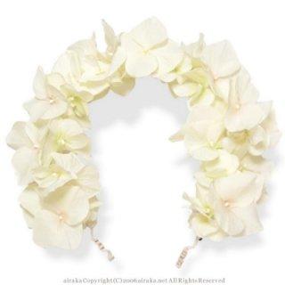 アーティフィシャルフラワー(造花)の紫陽花のヘッドガーランド(白)画像_airaka