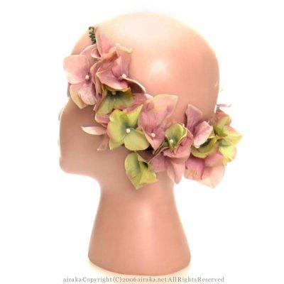 アーティフィシャルフラワー(造花)のグランオルテンシアのヘッドガーランド(モーヴグリーン)画像_airaka