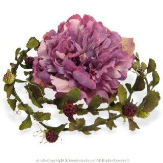 アーティフィシャルフラワー(造花)のピオニーとベリーのラリエット(パープル)画像_airaka
