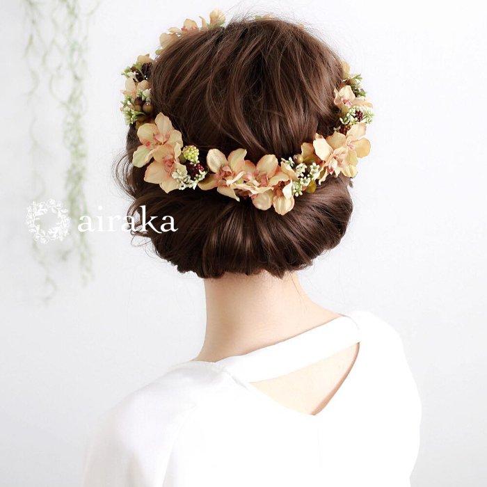 アーティフィシャルフラワー(造花)の髪飾り/アンティークデルフィニウムの花冠(クリーム)画像_airaka