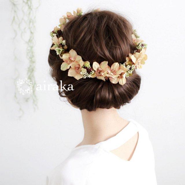 アーティフィシャルフラワー(造花)のアンティークデルフィニウムの花冠(クリーム)画像_airaka