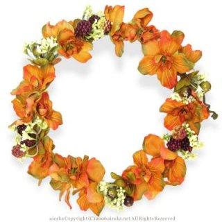 アーティフィシャルフラワー(造花)のアンティークデルフィニウムの花冠(オレンジ)画像_airaka