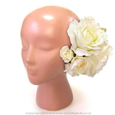 アーティフィシャルフラワー(造花)のグレースローズの髪飾り(白)画像_airaka