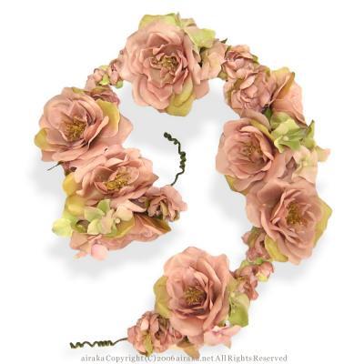 アーティフィシャルフラワー(造花)のリデルローズの花冠(スモーキーピンク)画像_airaka