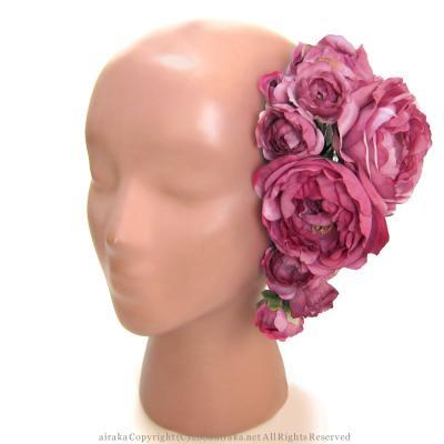 アーティフィシャルフラワー(造花)のロゼットローズの髪飾り(ピンク)画像_airaka