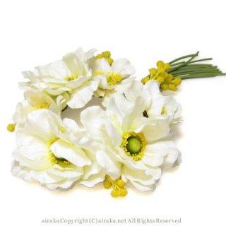 アーティフィシャルフラワー(造花)のアネモネの花冠(白)画像_airaka