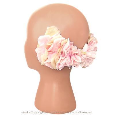 アーティフィシャルフラワー(造花)のローズのリボンボンネット(ピンク)画像_airaka