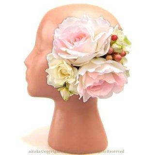 アーティフィシャルフラワー(造花)のグレースローズの髪飾り(ホワイトピンク)画像_airaka