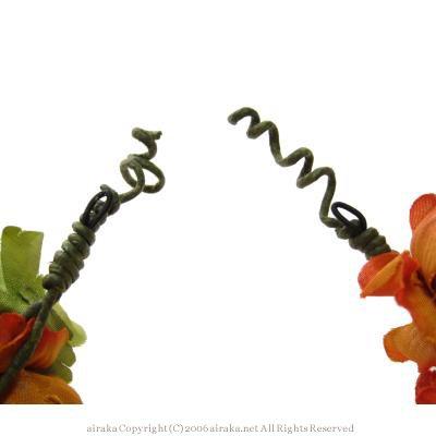 アーティフィシャルフラワー(造花)のローズとベリーのヘッドガーランド(オレンジ)画像_airaka
