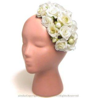 アーティフィシャルフラワー(造花)のローズソネットのボンネット(白)画像_airaka