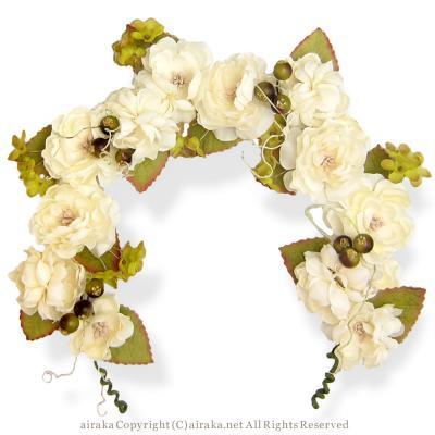アーティフィシャルフラワー(造花)の野ばらのヘッドガーランド(白)画像_airaka