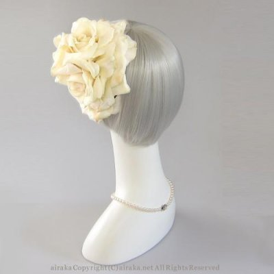 アーティフィシャルフラワー(造花)のバラのオーバルプラトー(アイボリー)画像_airaka
