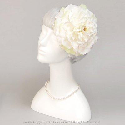 アーティフィシャルフラワー(造花)のバラのラウンドプラトー(白)画像_airaka