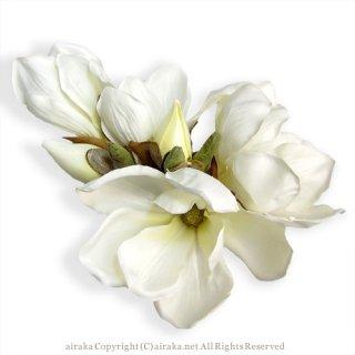 アーティフィシャルフラワー(造花)のマグノリアの髪飾り画像_airaka