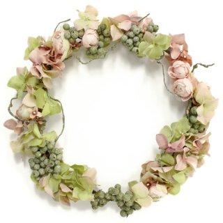 アーティフィシャルフラワー(造花)のローズと紫陽花の花冠(ピンクグリーン)画像_airaka