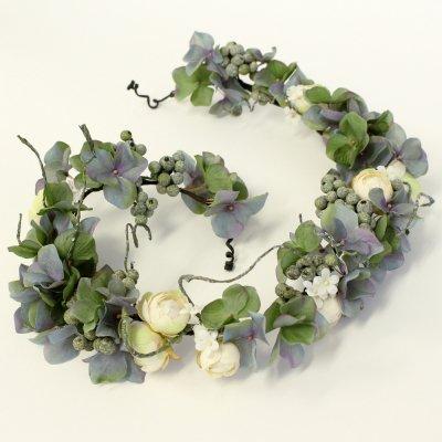 アーティフィシャルフラワー(造花)のローズと紫陽花の花冠(フォレスト)画像_airaka