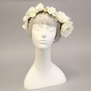 アーティフィシャルフラワー(造花)のプレジャーローズの花冠(白)画像_airaka