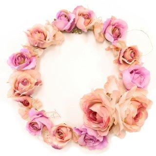 アーティフィシャルフラワー(造花)のプレジャーローズの花冠(ピンク)画像_airaka
