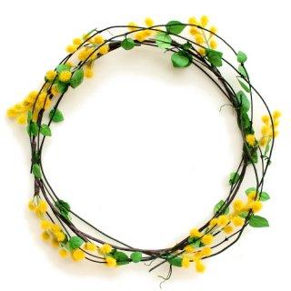 アーティフィシャルフラワー(造花)の蔓草の花冠手作りキット(ミモザ)画像_airaka