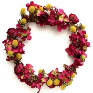 アーティフィシャルフラワー(造花)の収穫祭のバラの花冠(ボルドー)画像_airaka