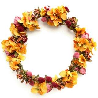 アーティフィシャルフラワー(造花)の収穫祭のバラの花冠(イエロー)画像_airaka