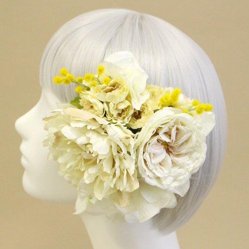 アーティフィシャルフラワー(造花)のピオニーとローズの髪飾りセット画像_airaka