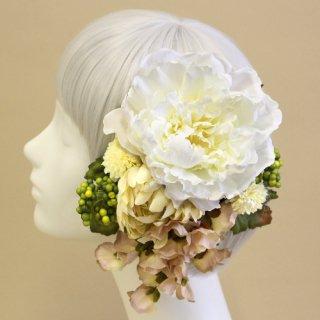アーティフィシャルフラワー(造花)の芍薬とマムの髪飾りセット(白)画像_airaka