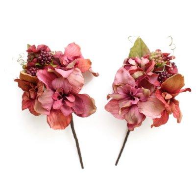 アーティフィシャルフラワー(造花)のアンティークデルフィニウムの髪飾りセット(赤)画像_airaka