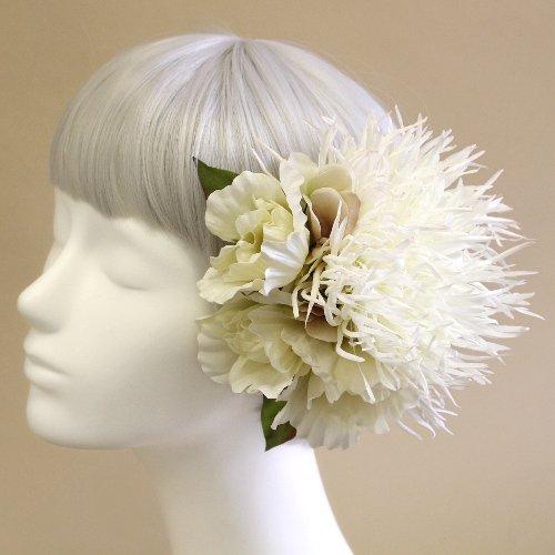 アーティフィシャルフラワー(造花)の糸菊とリシアンサスの髪飾り(白)画像_airaka