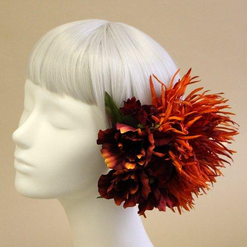 アーティフィシャルフラワー(造花)の糸菊とリシアンサスの髪飾り(赤)画像_airaka