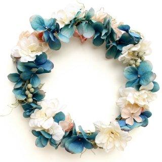 アーティフィシャルフラワー(造花)の紫陽花とデルフィニウムの花冠(ブルー)画像_airaka