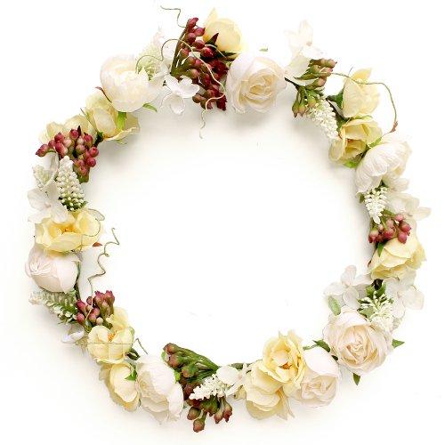 アーティフィシャルフラワー(造花)のローズとベロニカの花冠(白)画像_airaka