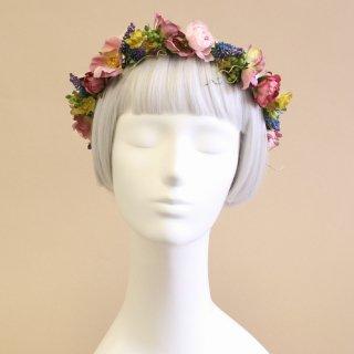 アーティフィシャルフラワー(造花)のローズとベロニカの花冠(パープル)画像_airaka