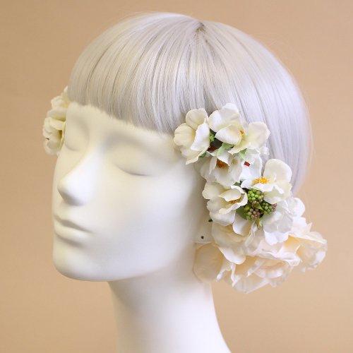 アーティフィシャルフラワー(造花)のオールドローズの髪飾り(白)画像_airaka