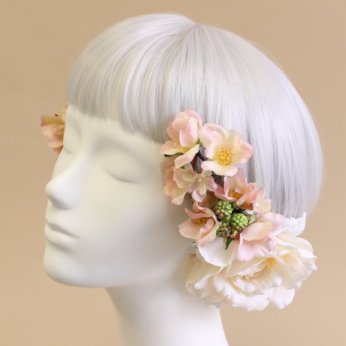 アーティフィシャルフラワー(造花)のオールドローズの髪飾り(ピンク)画像_airaka