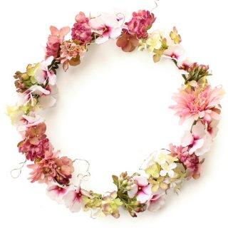 アーティフィシャルフラワー(造花)のマムとフロックスの花冠(ホワイトピンク)画像_airaka