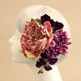 アーティフィシャルフラワー(造花)の芍薬とマムの髪飾り(パープル)画像_airaka