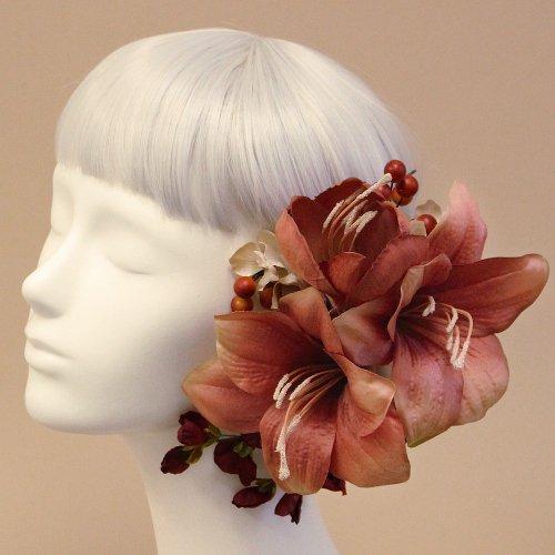 アーティフィシャルフラワー(造花)のアマリリスの髪飾り(モーブ)画像_airaka